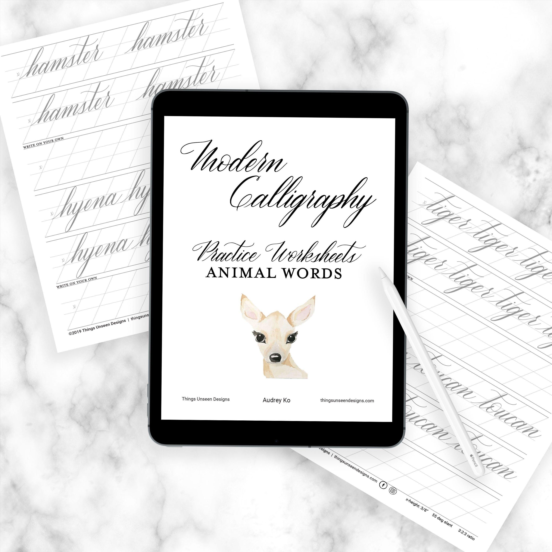 Modern Calligraphy Worksheets Animal Word