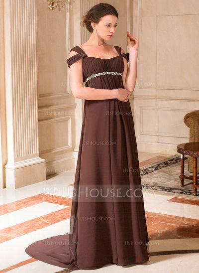 A-Linie/Princess-Linie Schulterfrei Pinsel Schleppe Chiffon Brautjungfernkleid Für Schwangere mit Rüschen Perlen verziert (008024442)