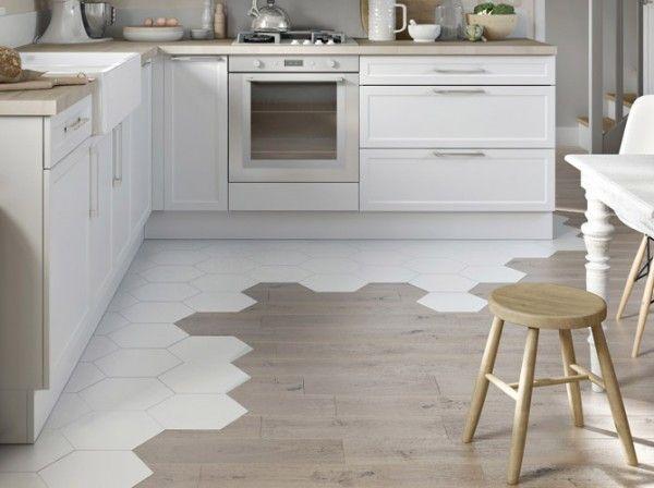 cuisine carrelage octogonal avec parquet home pinterest parquet carrelage et avec brio. Black Bedroom Furniture Sets. Home Design Ideas