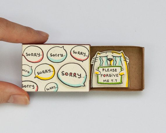 Cat Sorry Card Matchbox / Gretting Card / Gift box / Message