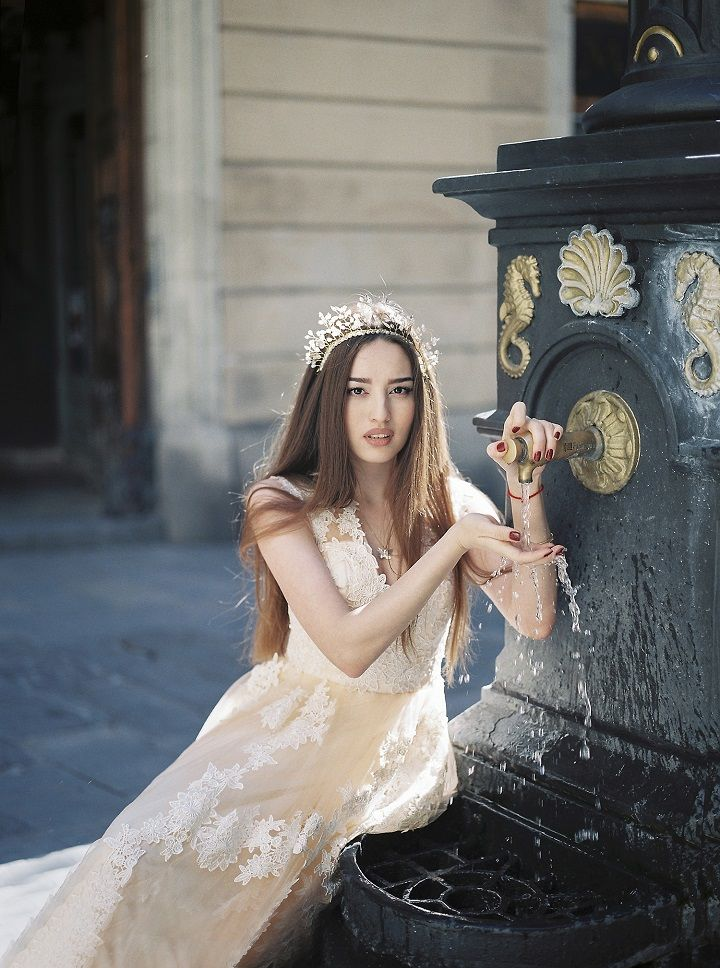 Soft Peach Wedding Dress for A Barcelona Fairytale Bridal Styled Shoot | fabmood.com #weddingdress #fairytalewedding #fairytale #peachwedding #weddinginspiration #filmwedding