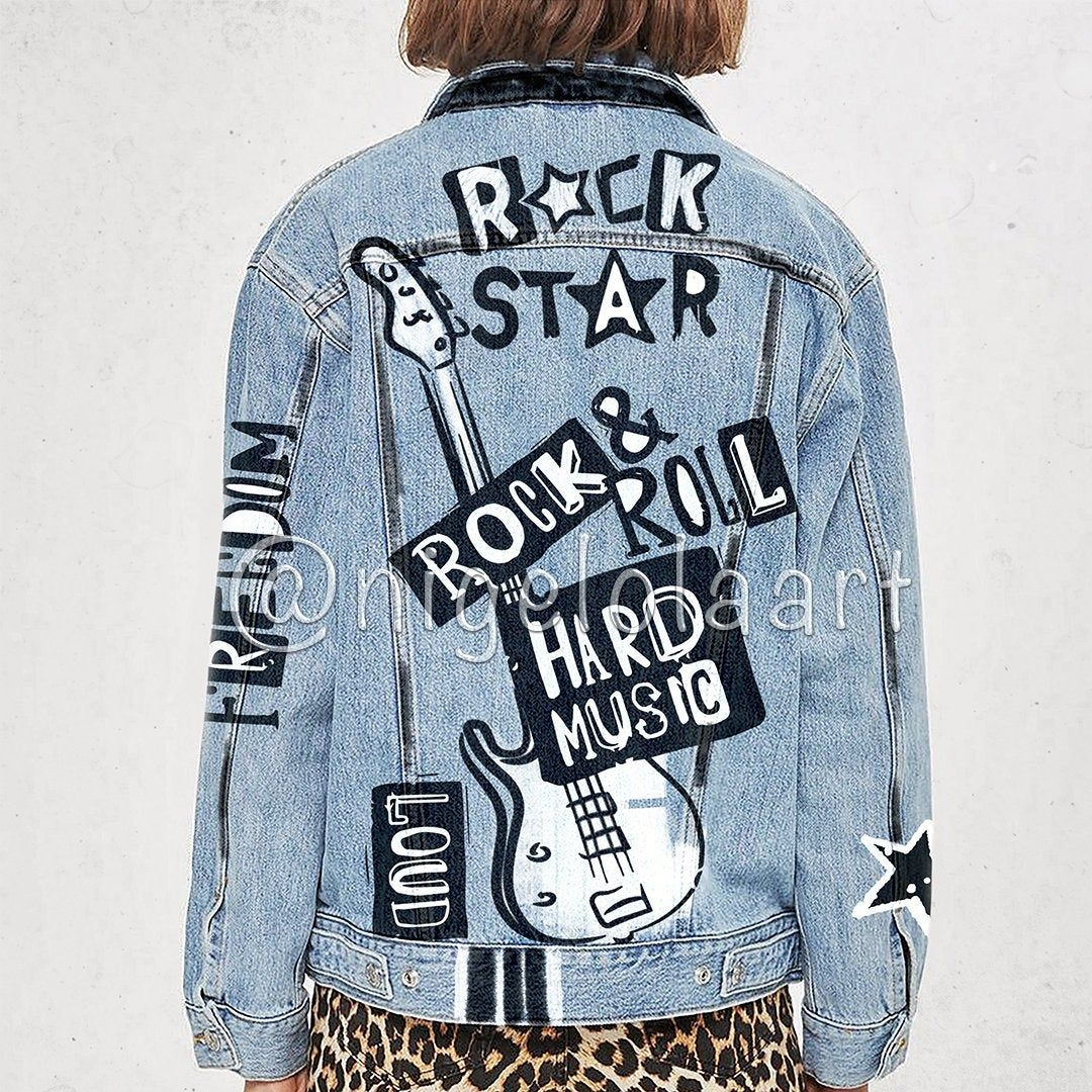 Denim Jacket Rock Star Hard Music Painted Hand Made Jeans Etsy Painted Leather Jacket Denim Jacket Painted Clothes Diy [ 1080 x 1080 Pixel ]