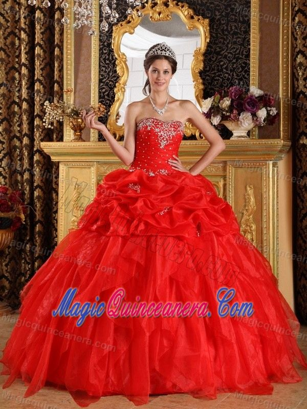 Red Strapless Beaded Organza Appliques Sweet 15 Dresses in Clifton