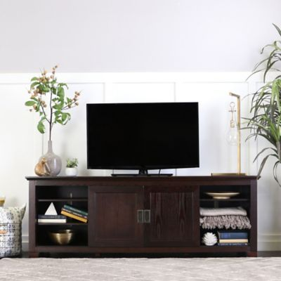 Forest Gate 70 Traditional Wood Tv Stand With Sliding Doors In Espresso Living Room Wood Living Room Designs Tv Stand Wood