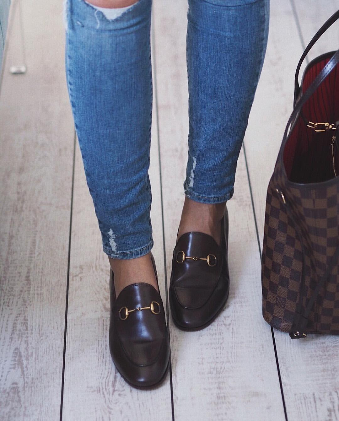 e0428b7c86 Instagram @emilyjanehardy - Paige blue denim jeans, Gucci brown ...