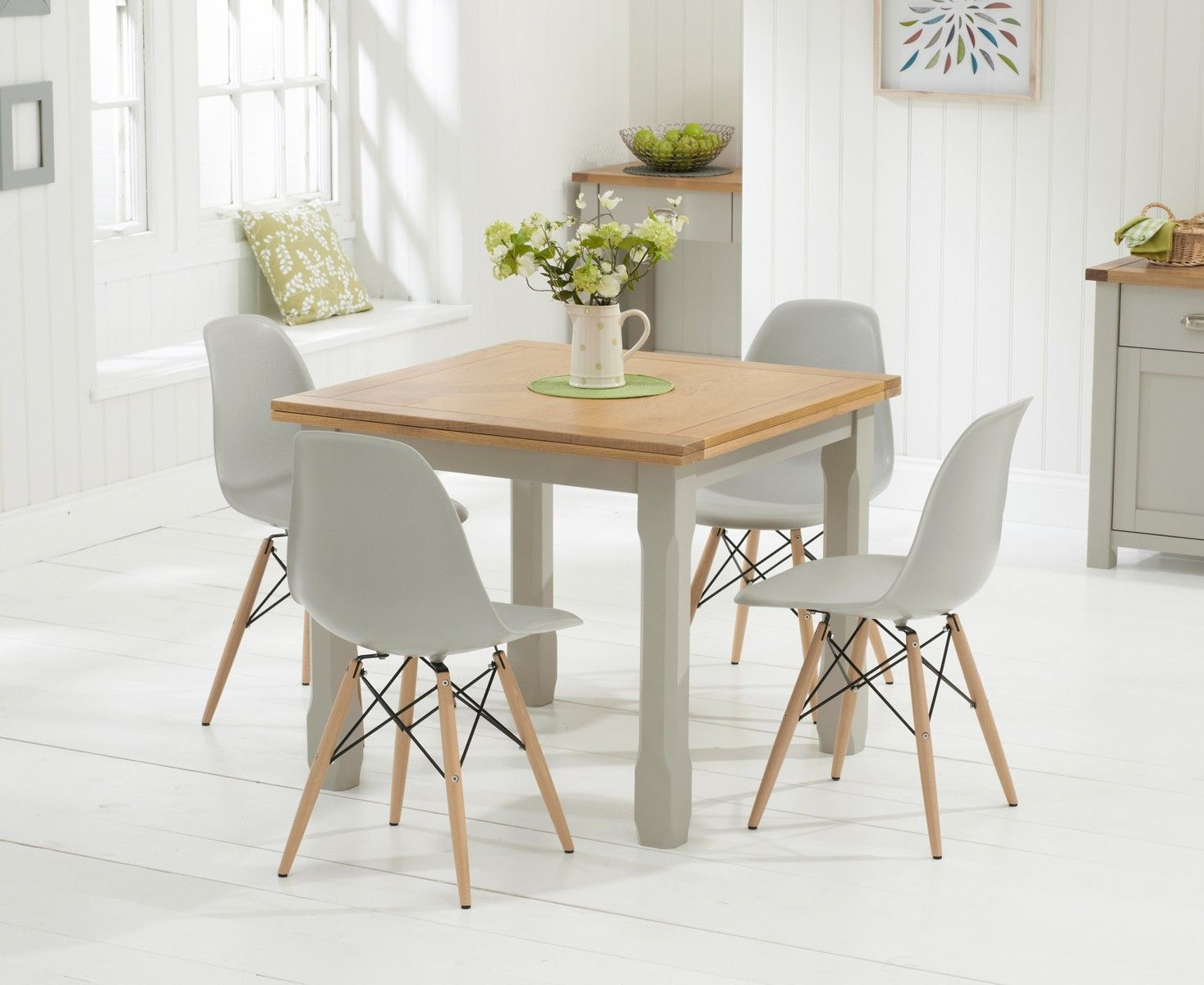 Somerset 90cm Oak and Grey Flip Top Extending Dining Table