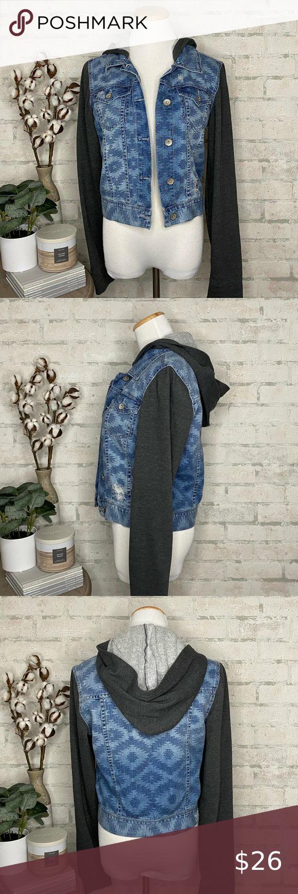 Bullhead Black | Distressed Hooded Denim Jacket