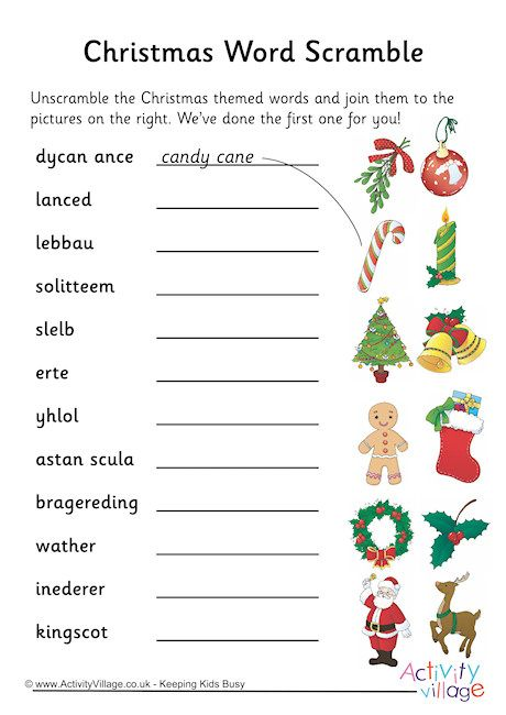 Enterprising image within christmas word scramble printable