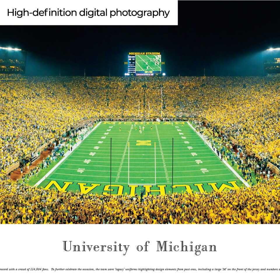 Michigan Wolverines Panoramic Picture Michigan Stadium Big House Picture Panoramic Pictures Panoramic Michigan