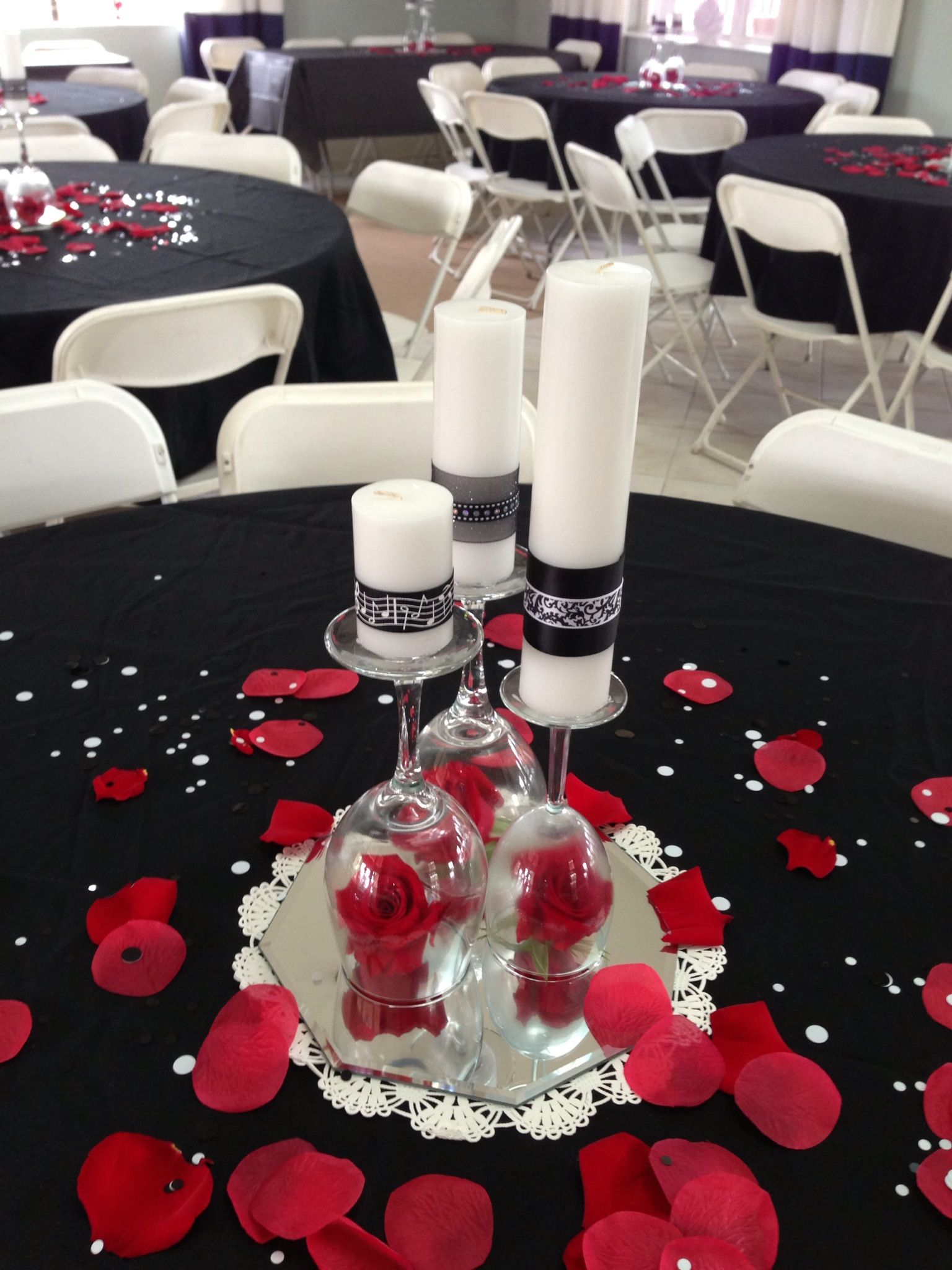 Centerpieces I Made Using Candles Wine Glasses And Roses