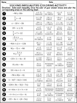 Marie De Los Reyes Algebra Accents Answer Key : marie, reyes, algebra, accents, answer, Solving, Inequalities, Differentiated, Coloring, Inequalities,, Activities,, Equations, Activity