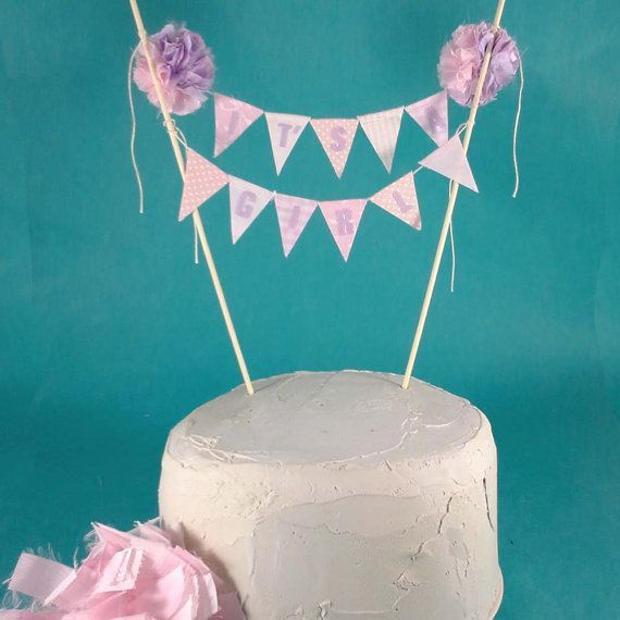 Cake topper baby shower baby bunting Its a Girl L101  pink lavender baby bunting cake banner  Baby shower ideas