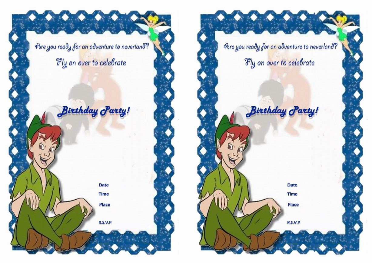 Peter Pan FREE Printable Birthday Party Invitations ...