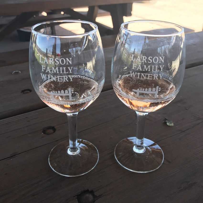 Wine glasses at Larson Family Winery