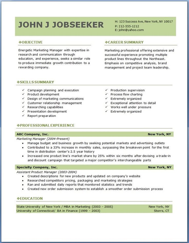 resume objective statement examples marketing for Home Design - free word design templates