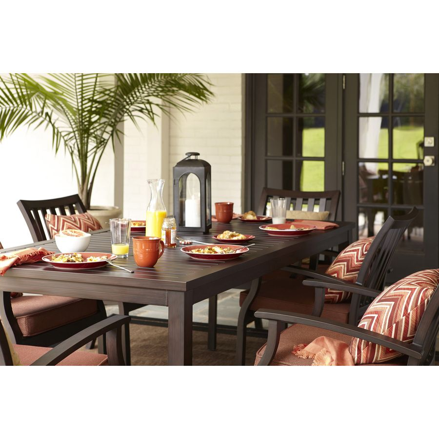 Shop Allen + Roth Gatewood Brown Rectangle Patio Dining Table At Lowes.com