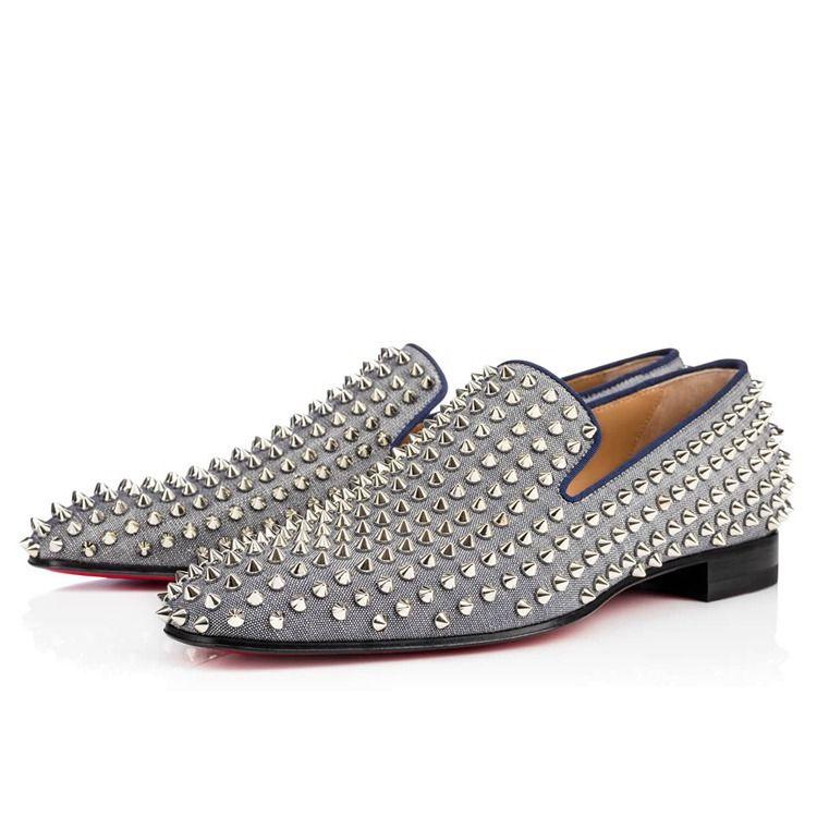 0f101baf98b Christian Louboutin Loafers Sale Men Christian Louboutin Dandelion Spikes  Flat In Espadon Silver