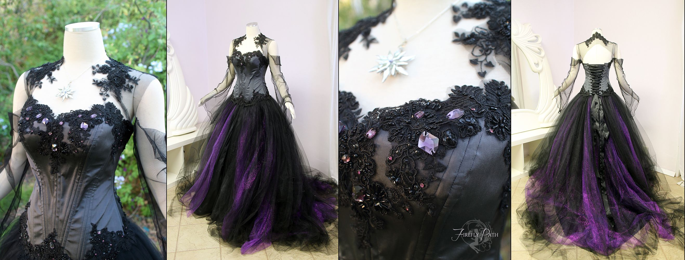 wedding dress halloween costume Halloween Wedding Dress by Lillyxandra female black grey purple gown necklace jewelry corset dark elf drow