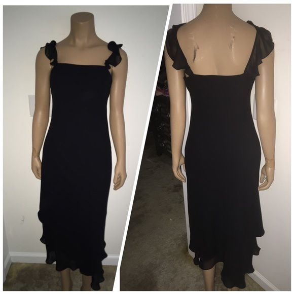 "Beautiful LITTLE BLACK DRESS This beautiful ""Little Black Dress"" is by Evan Picone. It has beautifully detailed ruffle straps, and also flowing Ruffles around the bottom. My sister wore this dress one to an event! Thank you for looking & HAPPY SHOPPING!! Evan Picone Dresses Midi"