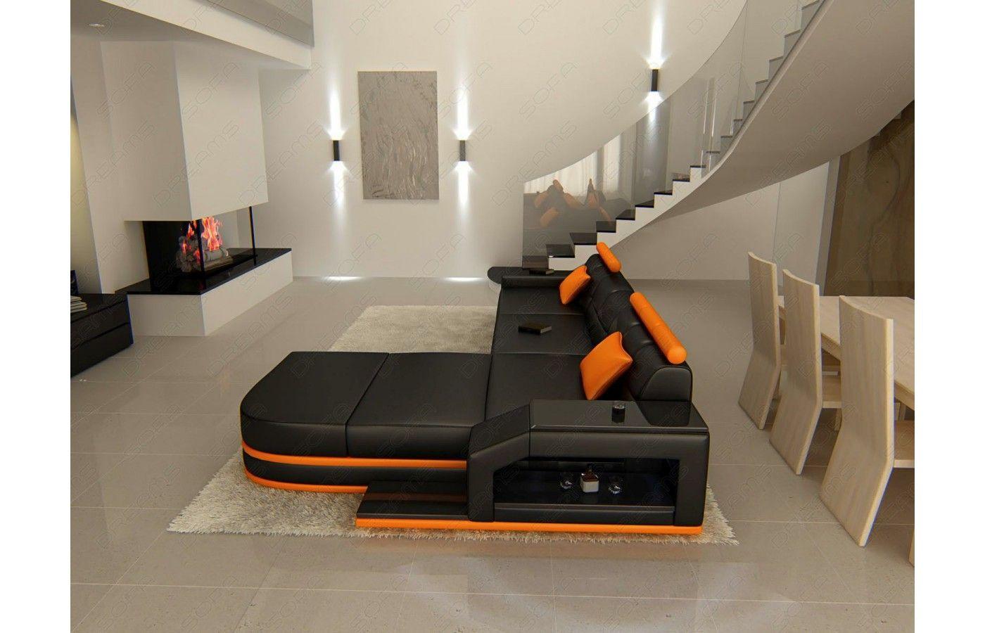 Exklusive Ledersofas ledersofa venedig l form in schwarz orange exklusiv bei sofa