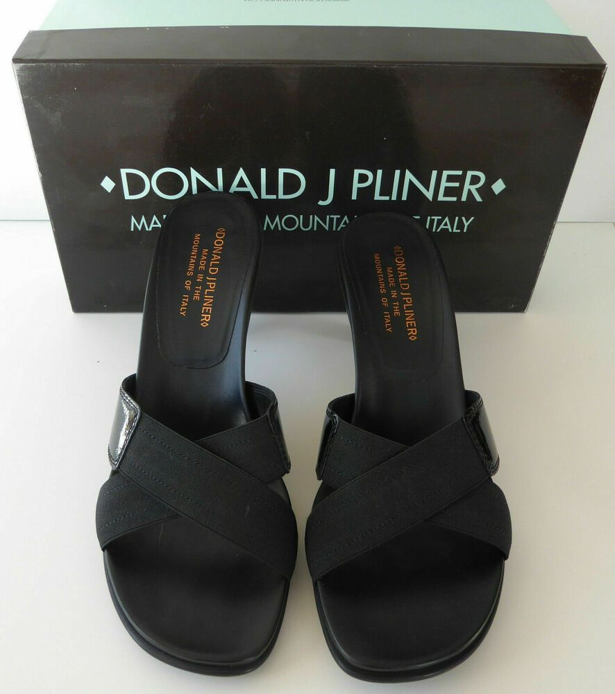 Donald Pliner Sandals Slides Heels US 8M Black Patent