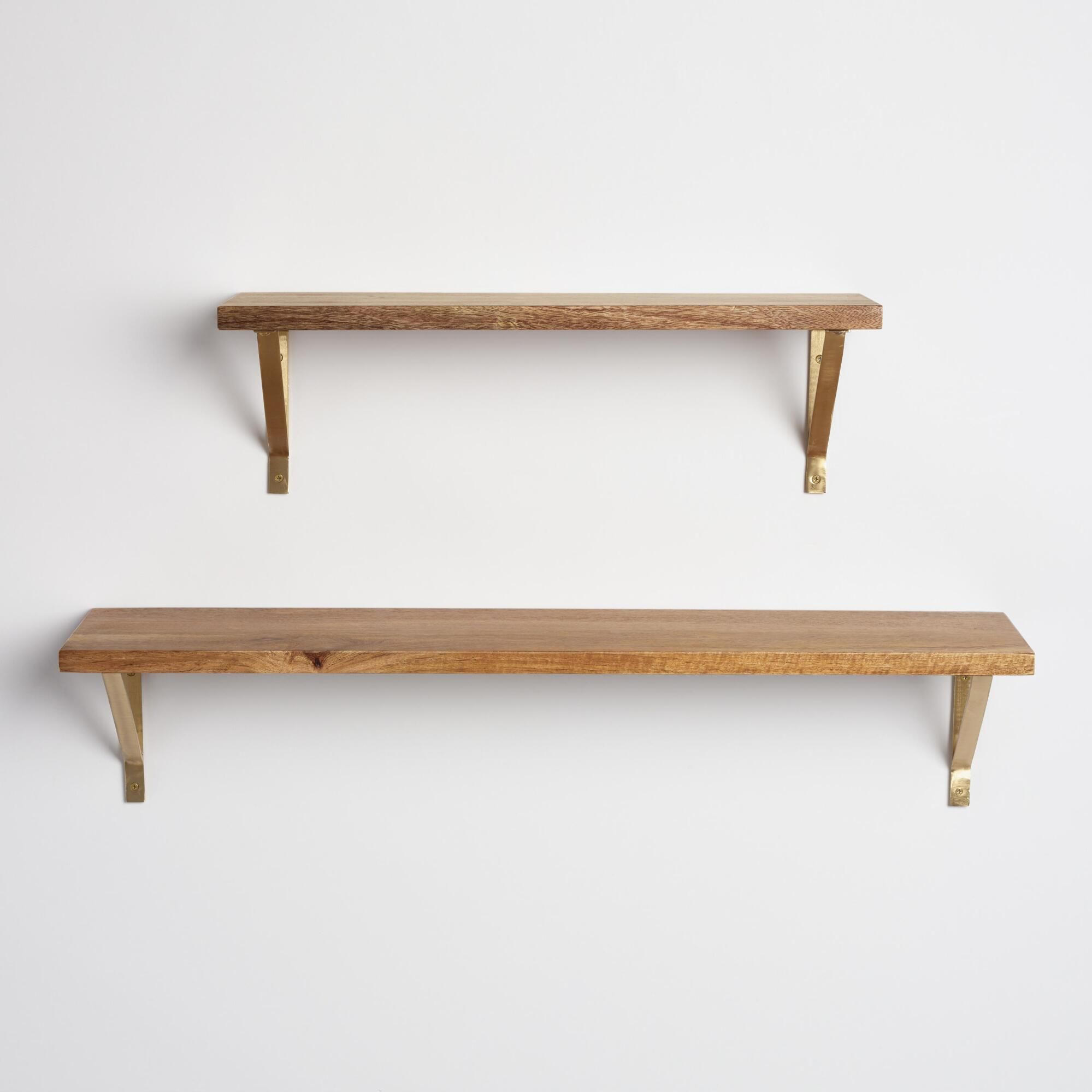 Natural Wood Mix & Match Wall Shelf Collection (With