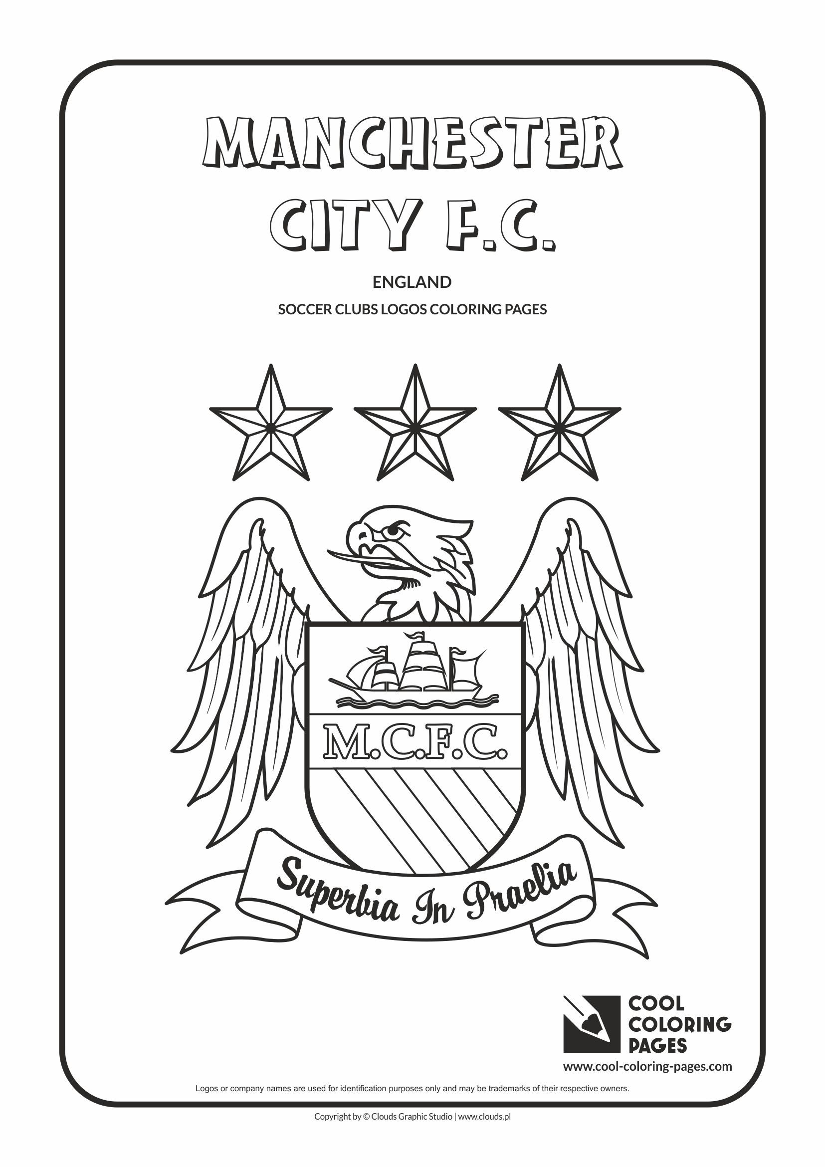cool coloring pages soccer clubs logos manchester city fc logo coloring page with