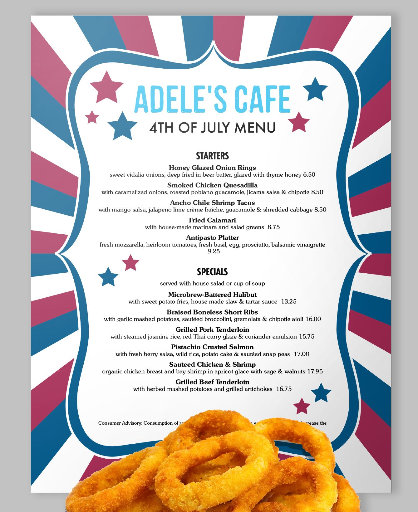 Make It A Deep Fried Fourth With Stars Stripes And Fireworks This Super Friendly Menu Has Sections For Menu Design Template Smoked Chicken Antipasto Platter 4th of july menu template