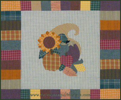 Homespun Harvest Cornucopia Quilt Pattern [free to members] http://www.victorianaquiltdesigns.com/VictorianaQuilters/PatternPage/HomespunHarvest/HomespunHarvestCornucopia.htm #quilting