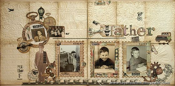 Vintage Textured Layout - Layers of ink. Double-page layout with lots of texture, using many Tim Holtz Sizzix dies and embossing folders, Idea-ology papers, rub-ons and embellishments.