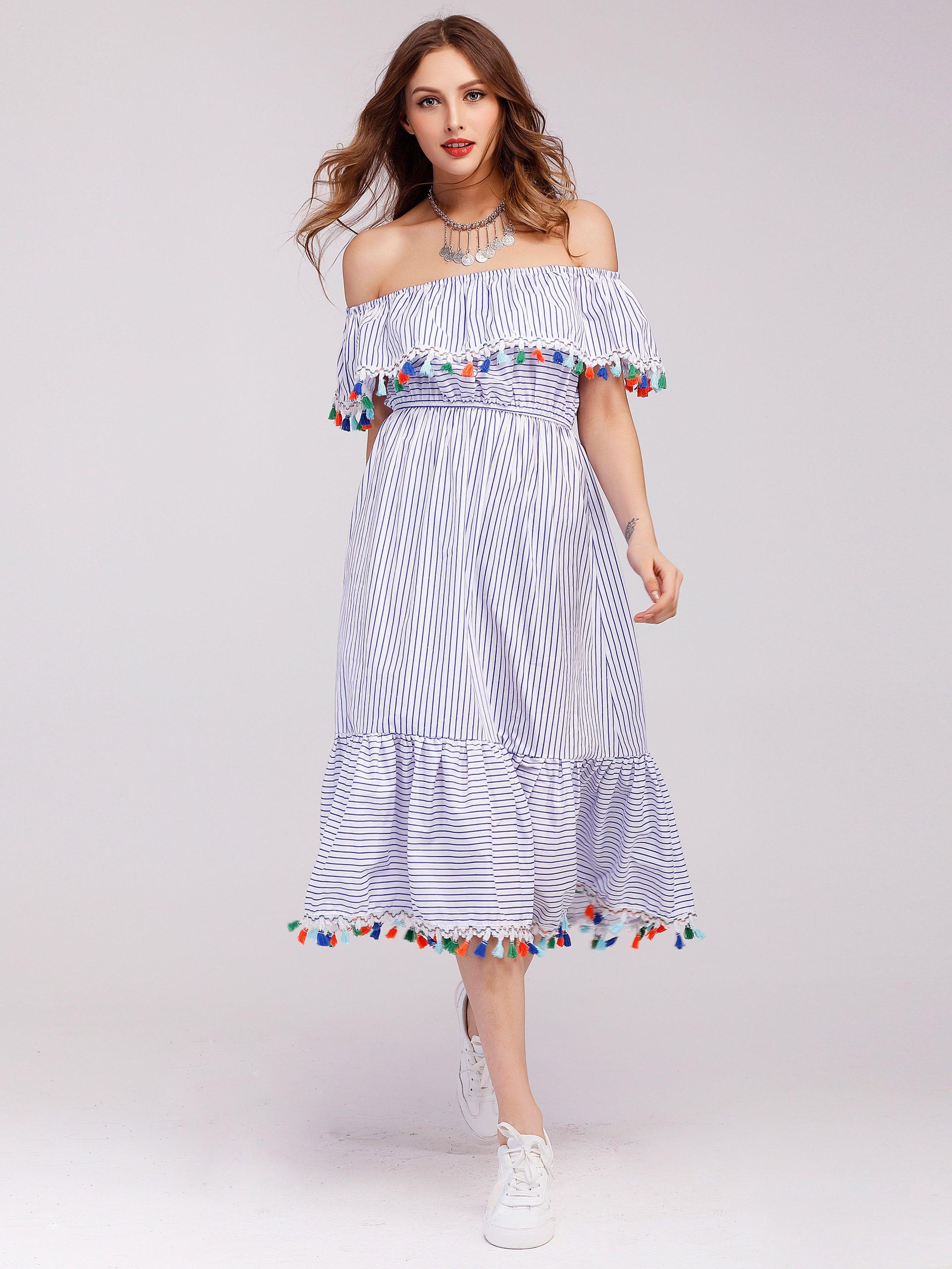 Haz Clic Para Ver Los Detalles Envíos Gratis A Toda España Flounce Layered Neckline Tel Trim Striped Dress Blue Cute Y Vacation Boho