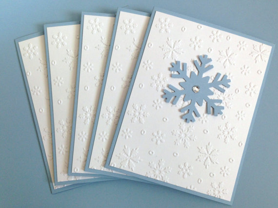 Unique Boxed Christmas Cards.Snowflake Card Set Boxed Holiday Cards Embossed