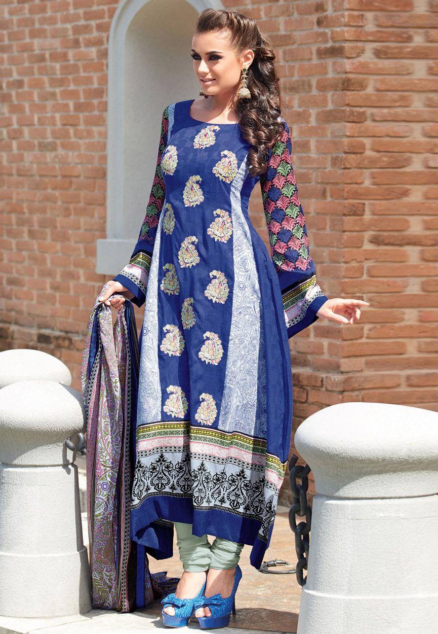 Blue and off white cotton jacquard churidar kameez dresses