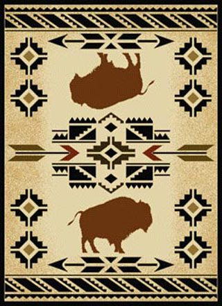 The South West Buffalo Floor Rug Gives A Western Lodge Feel To Any Home Its Design Featuring With Native American Motif Give This