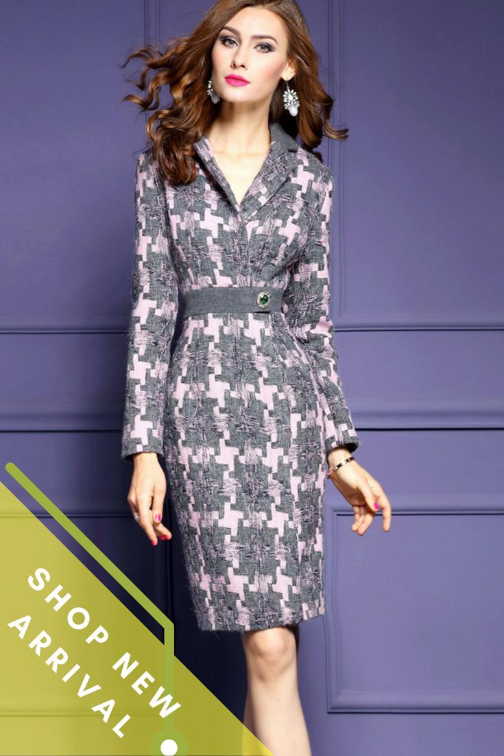 Neck Long Sleeves Winter Pencil Bodycon Dress | Elegante, Ropa y ...