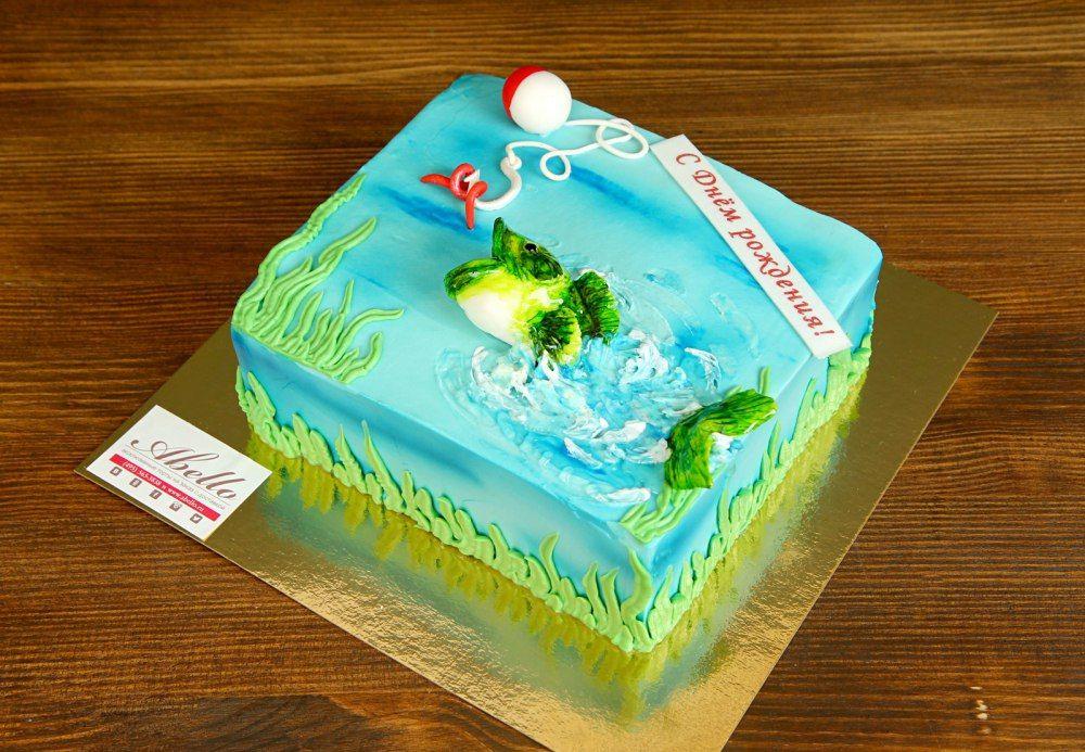 Торт рыбаку на день рождения фото кремовый