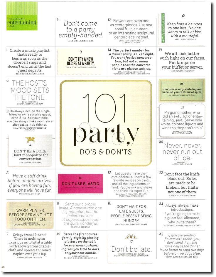 101 Party Dos & Don'ts