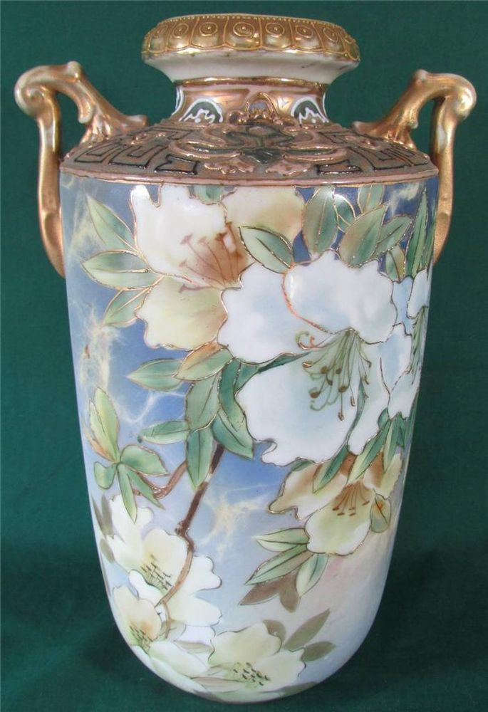 Beautiful Antique Nippon Hand Painted 10 12 Floral Gilt Vase W