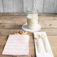 Bolsas de papel chevron rosa - Pack de 12 ud www.mrwonderfulshop.es #deco #home