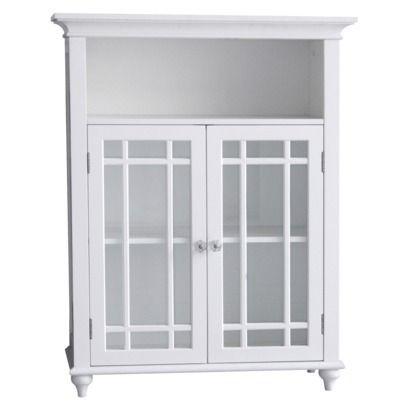 Neal 2 Door Floor Cabinet White Elegant Home Fashions Elegant Home Fashions Elegant Homes Linen Cabinet