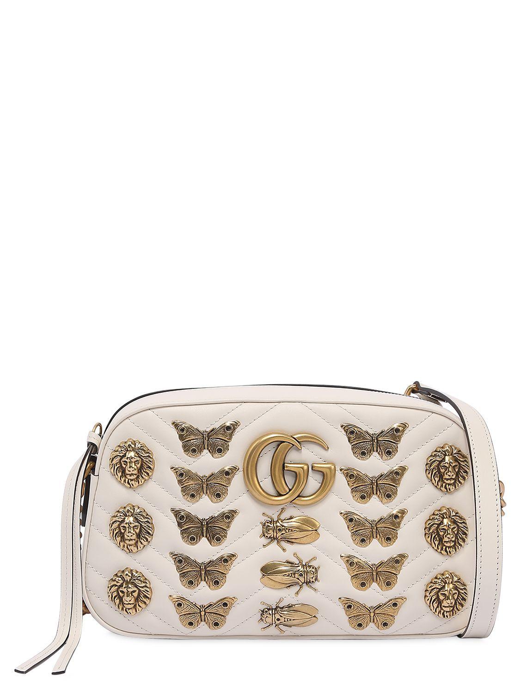 fbec77a6c85d88 GUCCI SMALL GG MARMONT BAG W/ METAL APPLIQUÉS. #gucci #bags #shoulder bags  #leather #