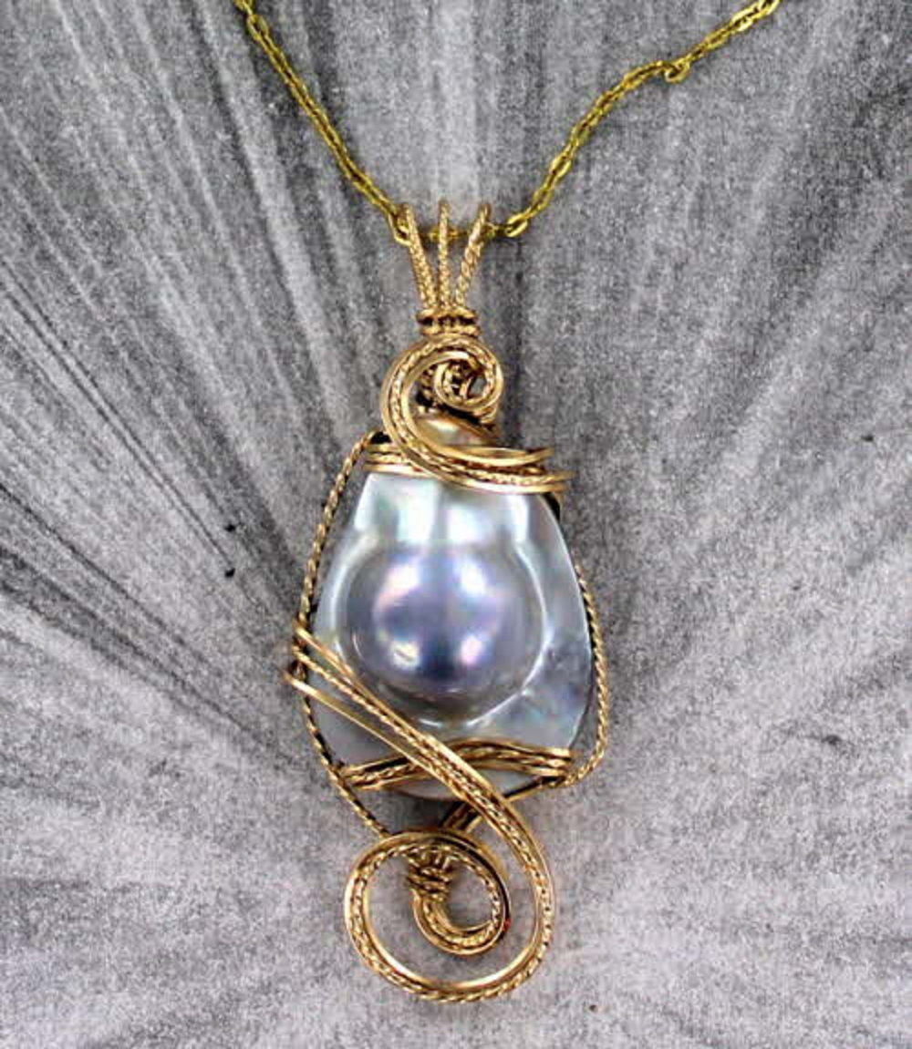 PEARL PENDANT NECKLACE WIRE WRAPPED WITH CHAIN 14KT ROLLED GOLD