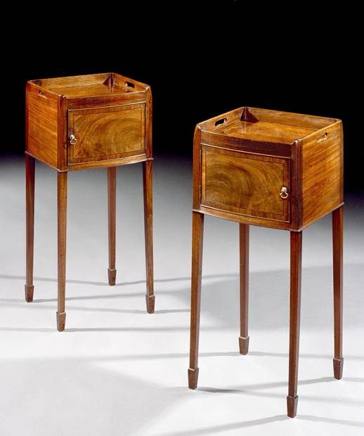 A Pair Of George Iii Mahogany Bedside Cupboards A Fine