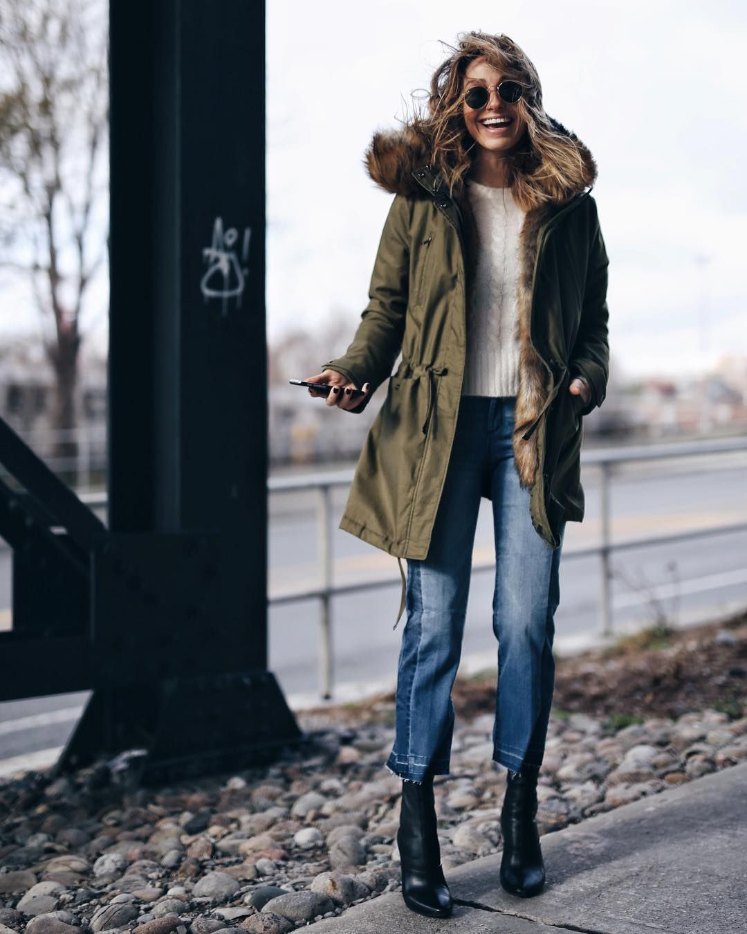 735db18361 Utility army olive green jacket jeans short black boots beige white sweater  jumper top casual outfit