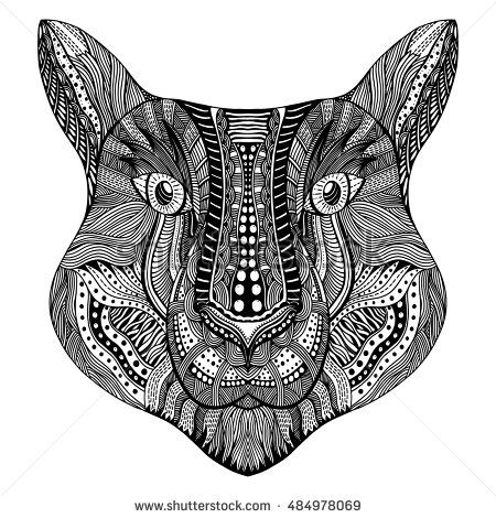 Zentangle Stylized Tiger Face Hand Drawn Doodle Vector Illustration Isolated On White Background Sketch For Tattoo Or Indian Makhenda Design