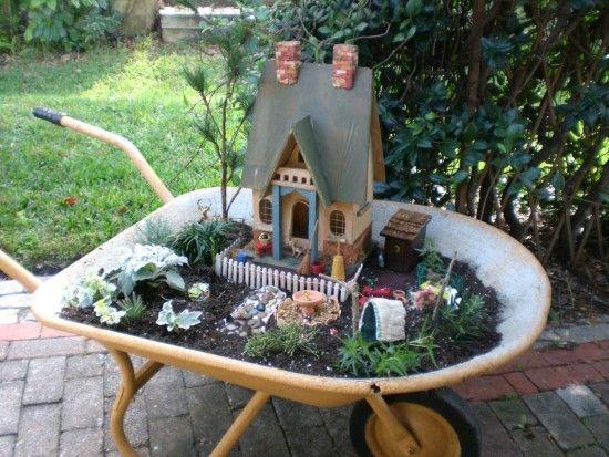 Wheelbarrow Fairy Garden Ideas You\'ll Love | Fairy, Gardens and ...