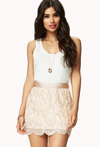 scalloped sequin skirt!!!! adoable! and affordable! forever 21