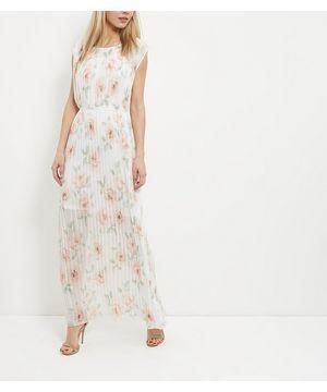 Cream Chiffon Floral Print Pleated Maxi Dress | New Look