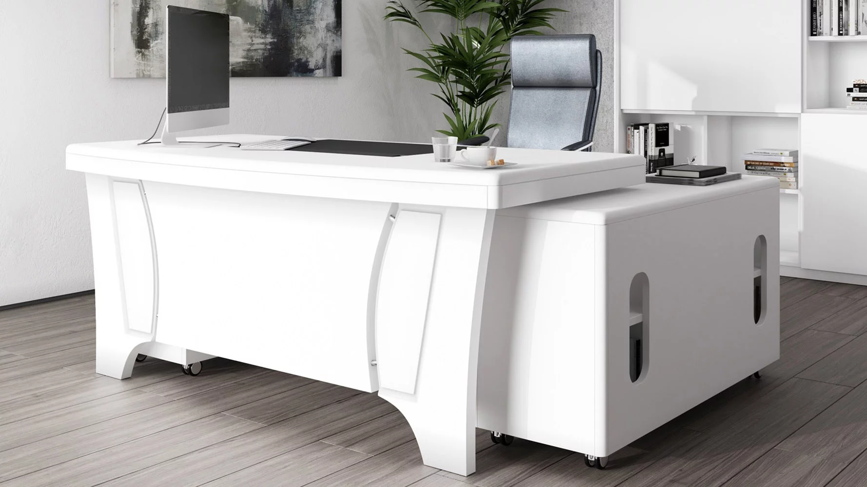 Quincy Desk with Return   White   White executive desk ...