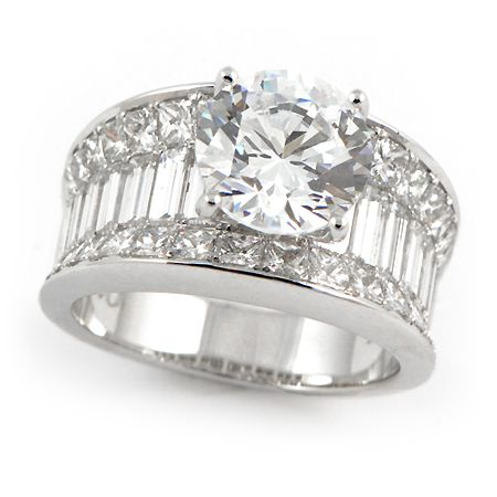 aaba92173cf00 Wide Band Engagement Ring w/ Baguette & Princess Cut Diamonds ...